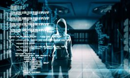 Programming and criminal background. Hacker with creative coding lines on blurry server room background. Programming and criminal concept. Multiexposure royalty free stock images