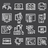 Programming and developer icons. Line series on gray background Royalty Free Stock Images