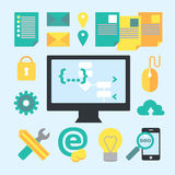 Programming and development process design elements. Process of creating software. Vector modern illustration in flat style Royalty Free Stock Photos