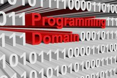 Programming domain. In the form of binary code, 3D illustration Royalty Free Stock Image