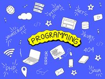 Programming doodle illustration with programmer tools and popular language vector illustration