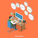Programming flat isometric vector concept. Stock Images