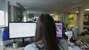 Programming girl working