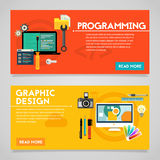Programming and Graphic Design Concept Banners Royalty Free Stock Images
