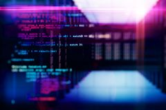 Programming and hardware backdrop. Creative coding lines on blurry server room backdrop. Programming and hardware concept. Multiexposure royalty free stock photo