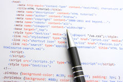 Programming html code. HTML source code printed on paper stock images
