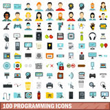 100 programming icons set, flat style Royalty Free Stock Photo
