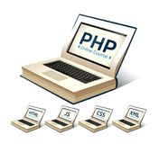 Programming language concept - PHP, CSS, XML, HTML, Javascript learning - book as laptop. Programming language concept - PHP, CSS, XML, HTML, Javascript learning Stock Images