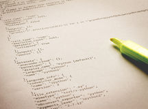 Programming language Python on paper. Learning programming language Python printed on paper Royalty Free Stock Photos