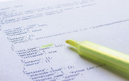 Programming language Python on paper Stock Photography