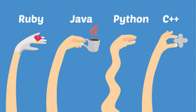 Programming languages illustration - hands of programmers Royalty Free Stock Photo