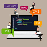 Programming in laptop screen PHP HTML CSS. Vector Stock Photography