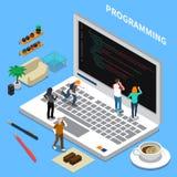Programming Miniature Isometric Concept royalty free illustration