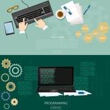 Programming process man writing programming code Royalty Free Stock Photo