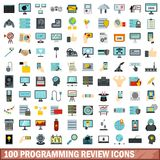 100 programming review icons set, flat style. 100 programming review icons set in flat style for any design vector illustration Stock Illustration