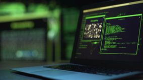 Programming scripts running on laptop monitor, server hacking process, crime. Stock footage stock footage