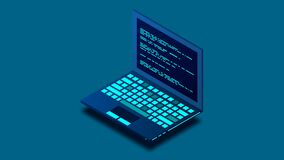 Programming or Software development loopable concept. Isometric Laptop with programming code. Programming concept