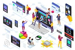 Programming software interface device engineers. Programming software interface on device by engineers. Application for company project. A space of professional royalty free illustration