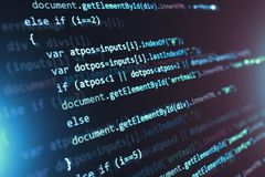 Programming source code abstract background. Creative abstract PHP web design, internet programming HTML language and digital computer technology business stock illustration
