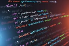 Programming source code abstract background. Creative abstract PHP web design, internet programming HTML language and digital computer technology business royalty free illustration