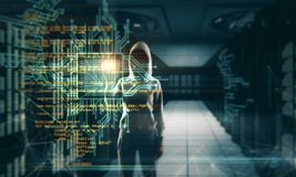Programming and theft background. Hacker with creative coding lines on blurry server room background. Programming and theft concept. Double exposure royalty free stock image