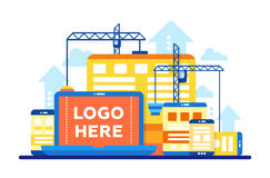 Programming Tools - flat design illustration with copyspace for Logo Stock Photo