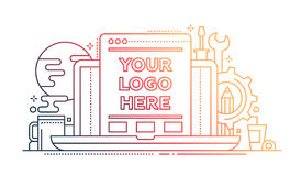 Programming Tools - line design illistration with copyspace for Logo Stock Photography