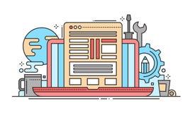 Programming Tools - line flat design website banner Stock Photo