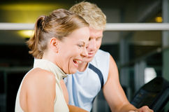 Programming the treadmill Stock Photo