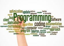 Programming word cloud and hand with marker concept. On gradient background stock photos
