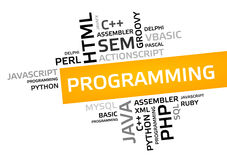 PROGRAMMING word cloud, tag cloud, vector graphic Royalty Free Stock Photos