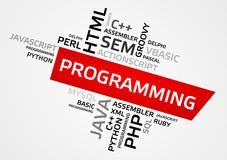 PROGRAMMING word cloud, tag cloud, vector graphics Royalty Free Stock Photo