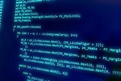 Programowania cyfrowania źródła kodu ekran zdjęcia stock