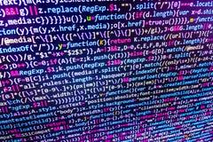 Programowania cyfrowania źródła kodu ekran Obrazy Stock