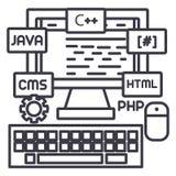 Programowanie, cyfrowanie, poślubia przedsiębiorcy budowlanego wektoru linii ikonę, znak, ilustracja na tle, editable uderzenia royalty ilustracja