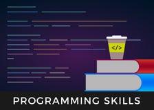 Programowanie umiejętności - koduje uczenie lub cyfrowanie uczy się płaskiego projekta pojęcie Programa ?r royalty ilustracja