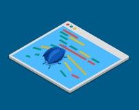 Programuje kod pluskwy technologii cyfrowania mieszkania 3d isometric wektor ilustracja wektor