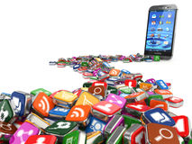 programvara Smartphone eller bakgrund för mobiltelefonapp-symboler Royaltyfria Foton