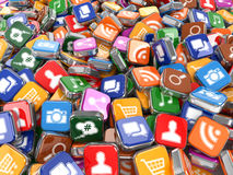 programvara Smartphone eller bakgrund för mobiltelefonapp-symboler Royaltyfria Bilder
