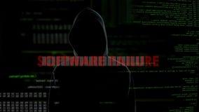 Programvarufel, mislyckat försök att hacka serveren, besviken brottsling stock video