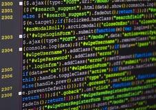 Programvarukällkod Öppet källprojekt för Freeware Framkallande programmera och kodifiera teknologier Programvarukällkod CSS Jav arkivfoton