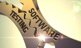 Programvaruprovningsbegrepp Guld- metalliska kugghjul 3d royaltyfri illustrationer