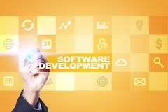 Programvaruutveckling Applikationer APPS för affär programmering arkivbild