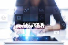 Programvaruutveckling Applikationer APPS för affär programmering royaltyfria foton