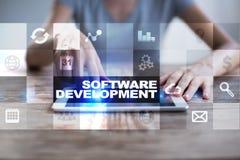 Programvaruutveckling Applikationer APPS för affär programmering arkivfoton