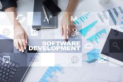 Programvaruutveckling Applikationer APPS för affär programmering royaltyfri bild