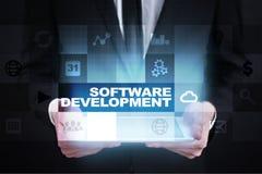 Programvaruutveckling Applikationer APPS för affär programmering royaltyfria bilder