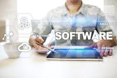 Programvaruutveckling Begrepp för teknologi för system för dataDigital program royaltyfri fotografi