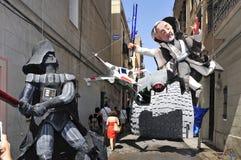 Progres Straße geschmückt während Festes de Gracia lizenzfreie stockfotografie