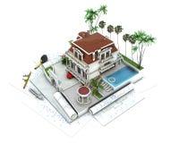 Progreso del diseño de la casa, visualización de la arquitectura stock de ilustración